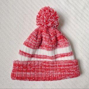 Knit Red & White PomPom Beanie